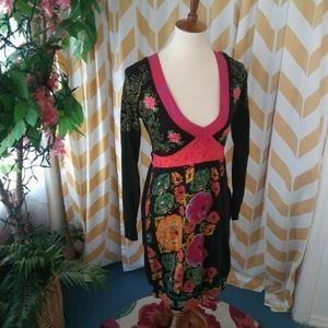 DESIGUAL size M Long Sleeve Dress Japanese Floral